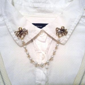Gold Octopus Collar Pins Pearl Collar Chain